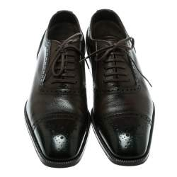 Tom Ford Brown Leather Gianni Brogue Austin Cap Toe Oxfords Size 41.5