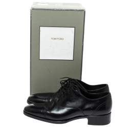 Tom Ford Black Leather Gianni Cap Toe Oxfords Size 41
