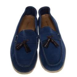 Tom Ford Blue Suede Tassel Loafers Size 43.5