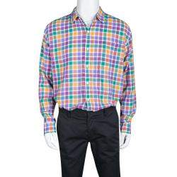 Tommy Hilfiger Multicolor Checked Cotton Long Sleeve Vintage Fit Shirt XL