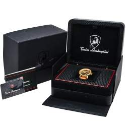 Tonino Lamborghini Gold PVD Stainless Steel Skeleton LS4490 Men's Wristwatch 44 mm