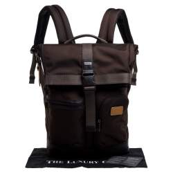 TUMI Two Tone Brown Nylon and Leather Cypress Roll Top Backpack