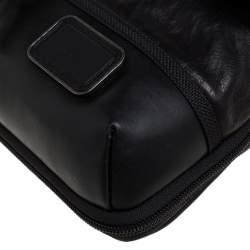 TUMI Black/Dark Brown Leather Annapolis Zip Flap Messenger Bag