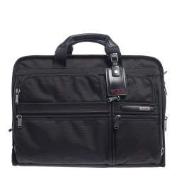 Tumi Black Nylon and Leather Large DFO Compact Screen Laptop Briefcase