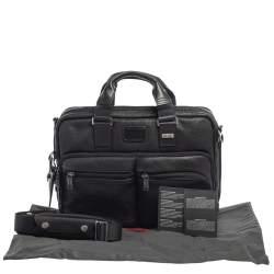 Tumi Black Leather Bingham Expandable Briefcase