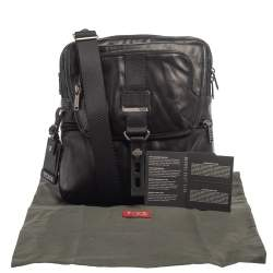 TUMI Black Leather Alpha Bravo Arnold Crossbody Bag
