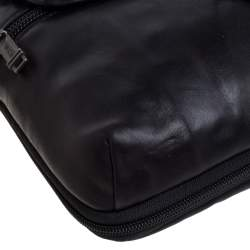 TUMI Black Leather Annapolis Zip Flap Messenger Bag