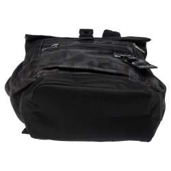 TUMI Black/Khaki Nylon Birch Roll Top Backpack