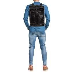 TUMI Black/Metallic Bronze Leather Alpha Bravo Luke Roll Top Backpack