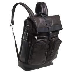 TUMI Black/Metallic Bronze Leather Alpha Bravo London Roll Top Backpack