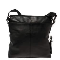 TUMI Black/Brown Leather Oxford Top Zip Flap Crossbody Bag