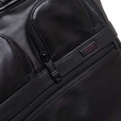 TUMI Black Leather Expandable Organizer Computer Briefcase