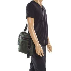 Tumi Olive Green Canvas Annapolis Flap Messenger Bag