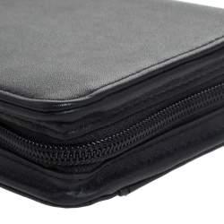 TUMI Black Leather Zip Around Travel Wallet