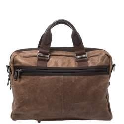 Tumi Brown Leather Alpha Bravo McNair Slim Briefcase Bag