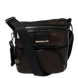 Tumi Dark Brown/Black Leather Barton Crossbody Bag