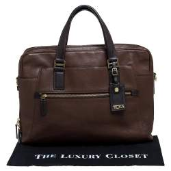 TUMI Brown Leather Double Zip Briefcase