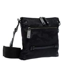 Valentino Black Nylon Camouflage Messenger Bag