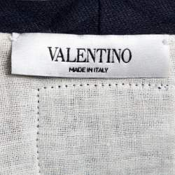 Valentino Indigo Blue Cotton Beaded Military Long Sleeve T-Shirt XS