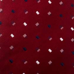 Valentino Red Embroidered Silk Jacquard Traditional Tie