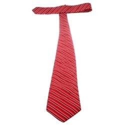 Valentino Red and White Striped Silk Jacquard Traditional Tie