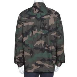 Valentino Green Camouflage Print Cotton Bead Embroidered Shirt XL