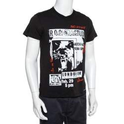 Valentino Black Party Aftershow Printed Cotton Crewneck T-Shirt M