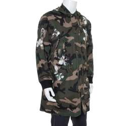 Valentino Green Mariposa Camouflage Cotton Hooded Parka Jacket M