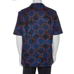 Valentino Navy Blue Logo Camouflage Printed Bowling Shirt XXL