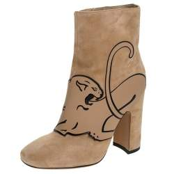 Valentino Beige Suede Panther Ankle Boots Size 36