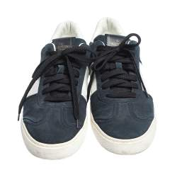 Valentino Blue/White Suede and Leather Flycrew Lace Up Sneakers Size 41