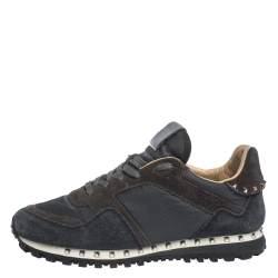 Valentino Dark Blue/Grey Suede And Camo Nylon Rockstud Sneakers Size 40