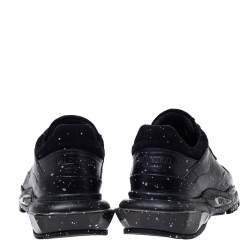 Valentino Black Leather And Suede Spray Effect Bounce Low Top Lace Up Sneakers Size 41
