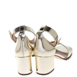 Valentino Gold Patent Leather Rockstud Chunky Heel Ankle Strap Sandals Size 41