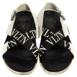 Valentino Black/White Leather And Nylon Logo Print Cross Strap Sandals Size 40