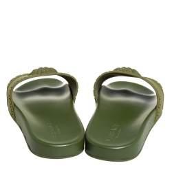 Versace Olive Green Rubber Medusa Slip On Sandal Size 45