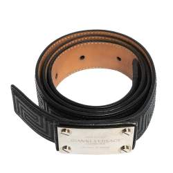 Versace Black Quilted Leather Logo Plaque Buckle Belt 90 CM