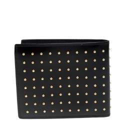 Versace Black Studded Patent Leather Medusa Bifold Wallet