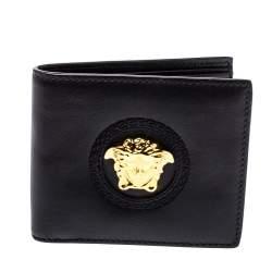 Versace Black Leather Medusa Bifold Wallet