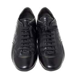 Versace Black Leather Low Top Sneakers Size 44