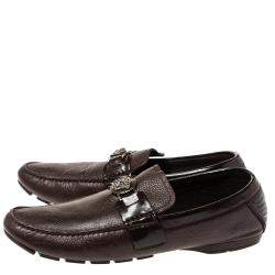 Versace Dark Brown Leather And Patent Trim Medusa Detail Slip On Loafers Size 43