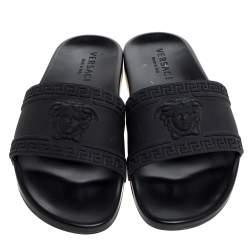 Versace Black Rubber Medusa Head Flat Slides Size 41