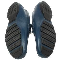 Versace Blue Leather Meander Pattern Medusa Slip On Loafers Size 43