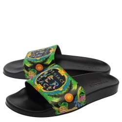 Versace Green Printed Leather Slide Sandals Size 43