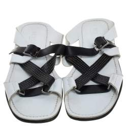 Versace White Leather Crossover Slide Sandals Size 43