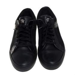Versace Black Leather And Suede Medusa Studded Low Top Sneakers Size 43