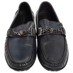 Versace Blue Leather Medusa Icon Chain Detail Loafers Size 45