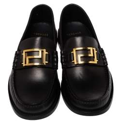 Versace Black Leather Metal Logo Slip On Loafers Size 41