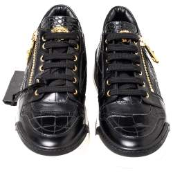Versace Black Croc Embossed And Leather Low Top Sneakers Size 41