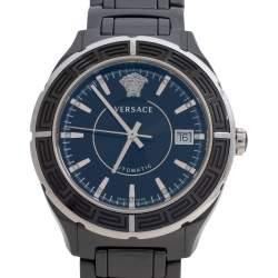 Versace Black Ceramic Stainless Steel DV One 02A Men's Wristwatch 40 mm